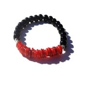 Image of Alex Bracelet {black + red +silver}