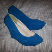 Image of TEAL FAUX SUEDE WEDGES (WORN ONCE)