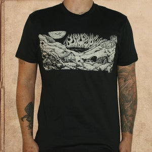 Image of fahrenheit 451 burning city - black - discharge ink S/M/XL left