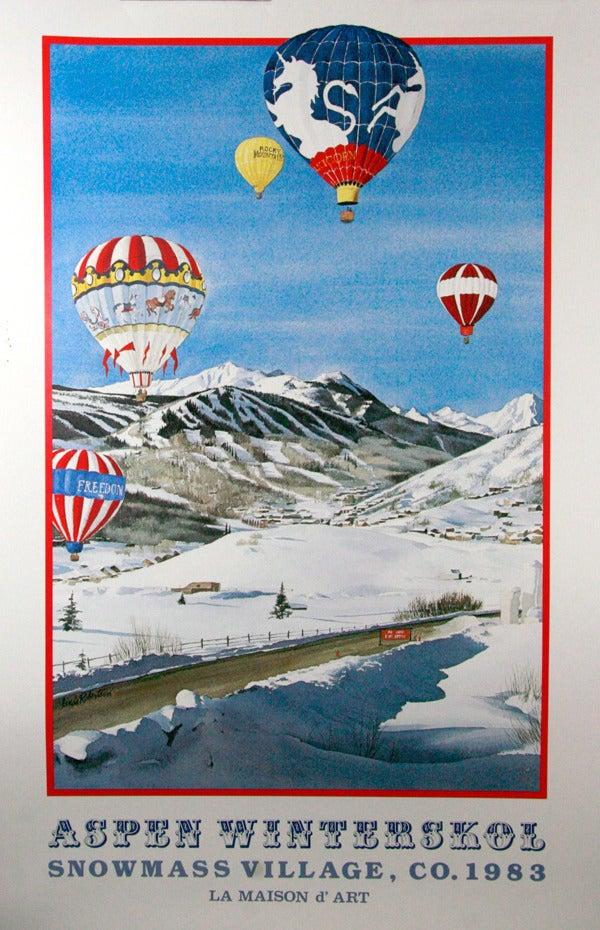 Image of 1983 Aspen Snowmass Winterskol Balloons Vintage Poster