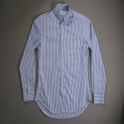 Image of Buckshot Sonny's Blue Striped Pinpoint Vacation Shirt