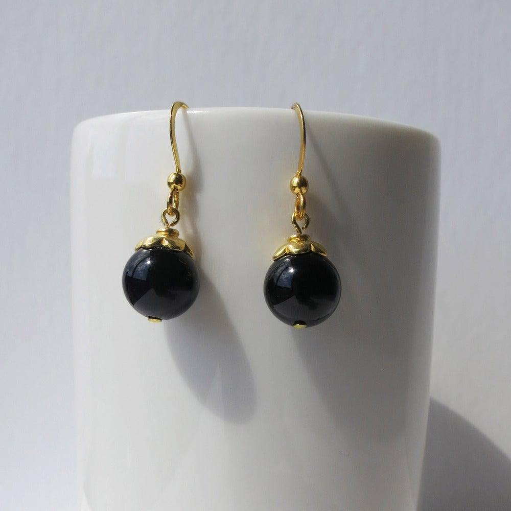 Image of Gold Flower Bead Earrings - Black or Turquoise