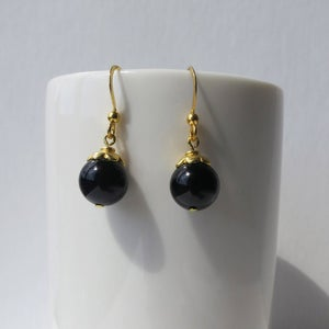 Image of Gold Flower Bead Earrings - Black or Turquoise