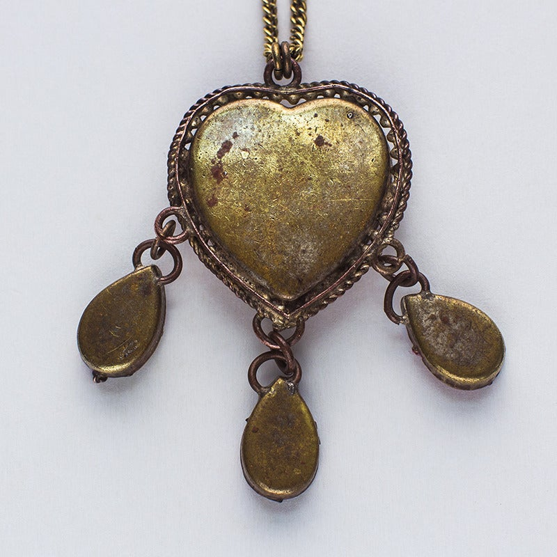 Image of Antique Micro Mosaic Roma Heart Necklace