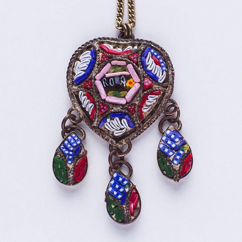 Winnow Antique Micro Mosaic Roma Heart Necklace