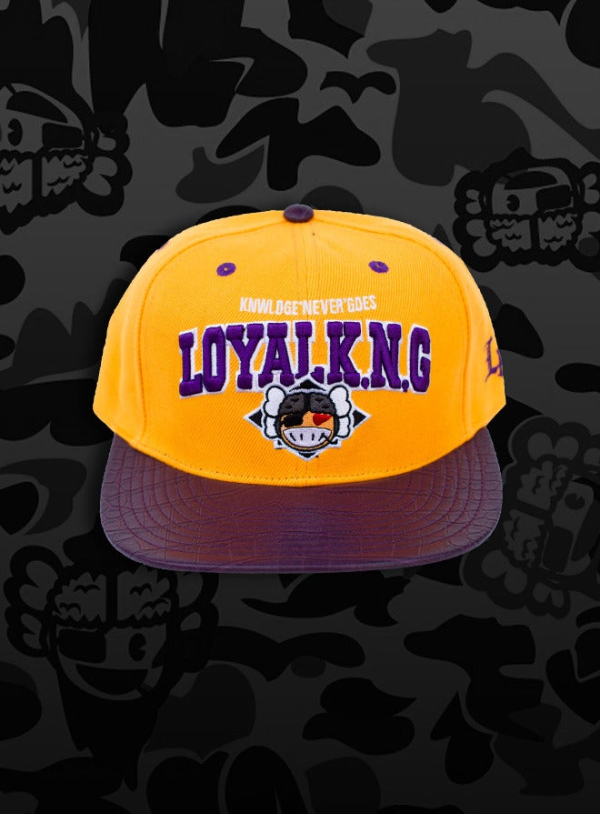 Image of Rebellious Loyal K.N.G. Strapback Cap - Yellow/Purple-Croc/Green