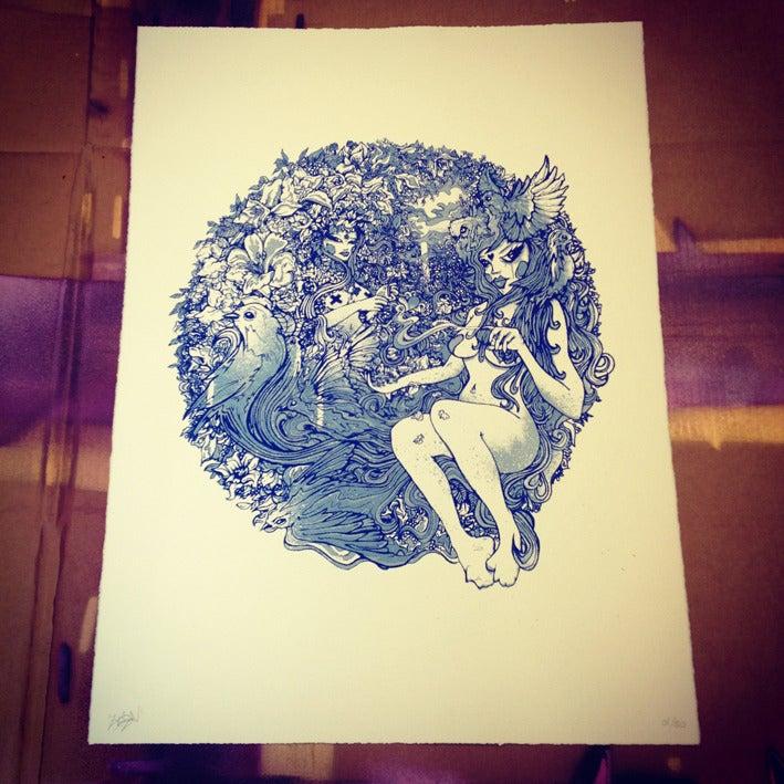 Image of Bluebirds And Powder (art print)