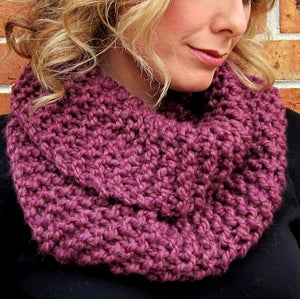 Image of Plum, Hand Knit Infinity Scarf