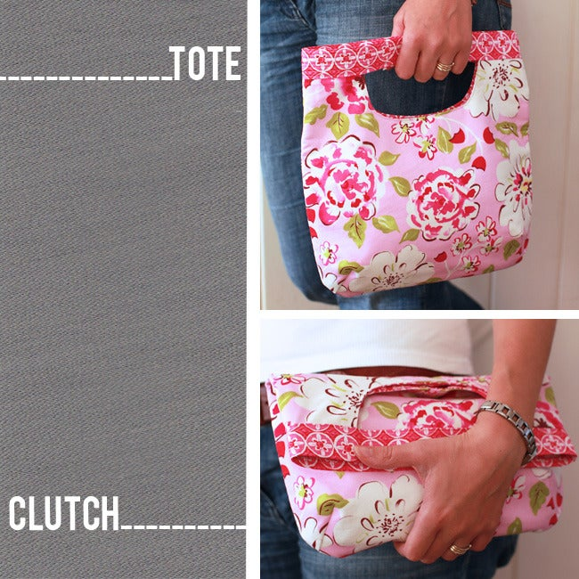 Image of PDF Sewing Pattern - 2 in 1 Fold Over Clutch/Tote Bag