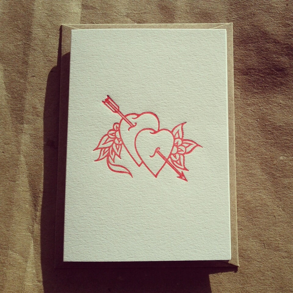 Image of Hearts Valentine Card (A7 size, blank inside)