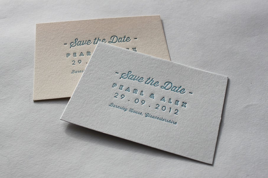 Image of Save the Date Cards - Letterpress printed, A7 size 'Pearl'