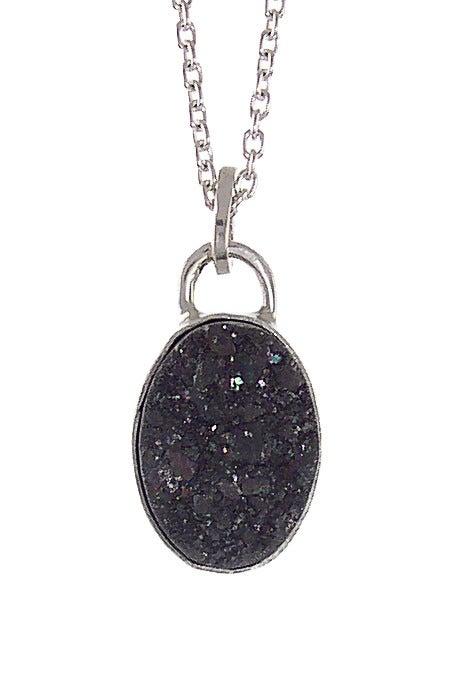 Image of Black Druzy Oval Necklace