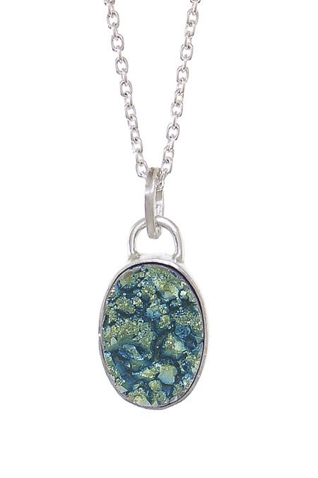 Image of Green Druzy Oval Necklace
