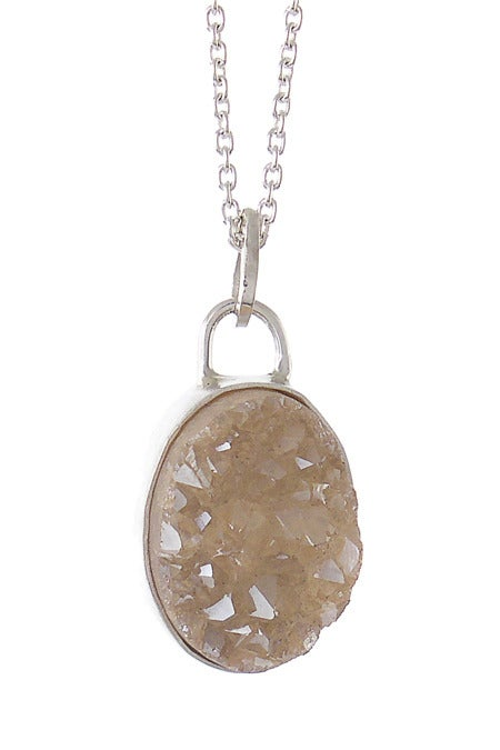 Image of Peach Druzy Oval Necklace