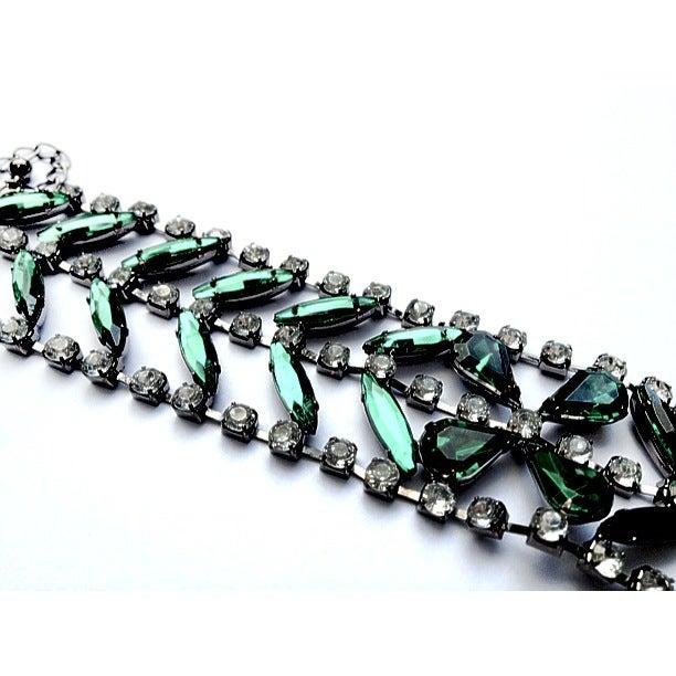 Image of Green Gem Diamante Bracelet