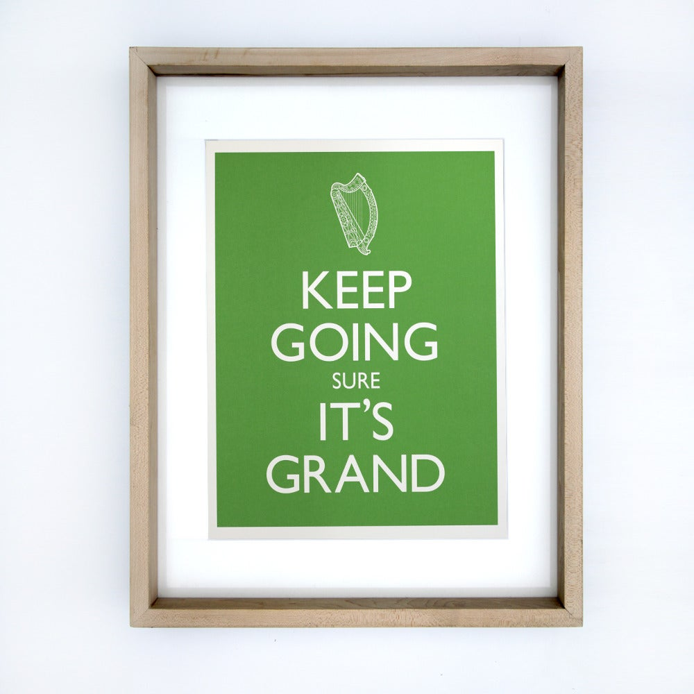 Image of KEEP GOING SURE IT'S GRAND A3 Print framed in Rocker Lane hardwood frame