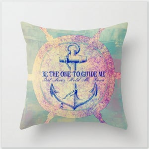 Image of Guide Me. Nautical Ship Wheel Decorative Vibrant Throw Toss Pillow by Brandi Fitzgerald