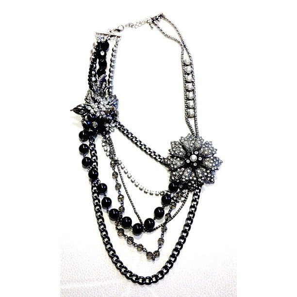 Image of Black & Silver Flower Layer Necklace