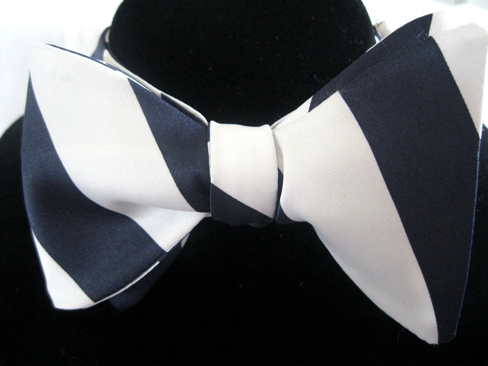 Image of Blue and White Wide Striped Bow