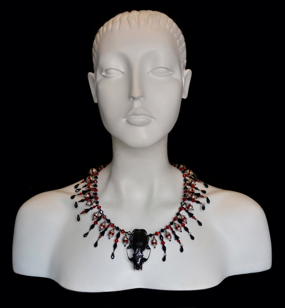 Image of Mink Skull Necklace with Beading