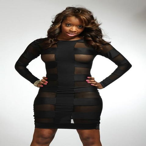 Image of Black Mesh Bandage Dress