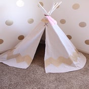 Image of Hand Painted Chevron Teepee-GOLD