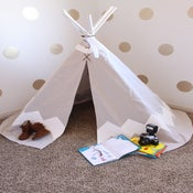 Image of Hand Painted Chevron Teepee-WHITE//PICK UP ONLY