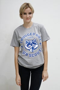 Image of Thugged Out Since Cub Scouts Tee: Grey Marle with Blue/White print.