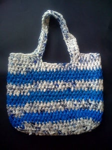 Image of Blue and White Crochet Bag