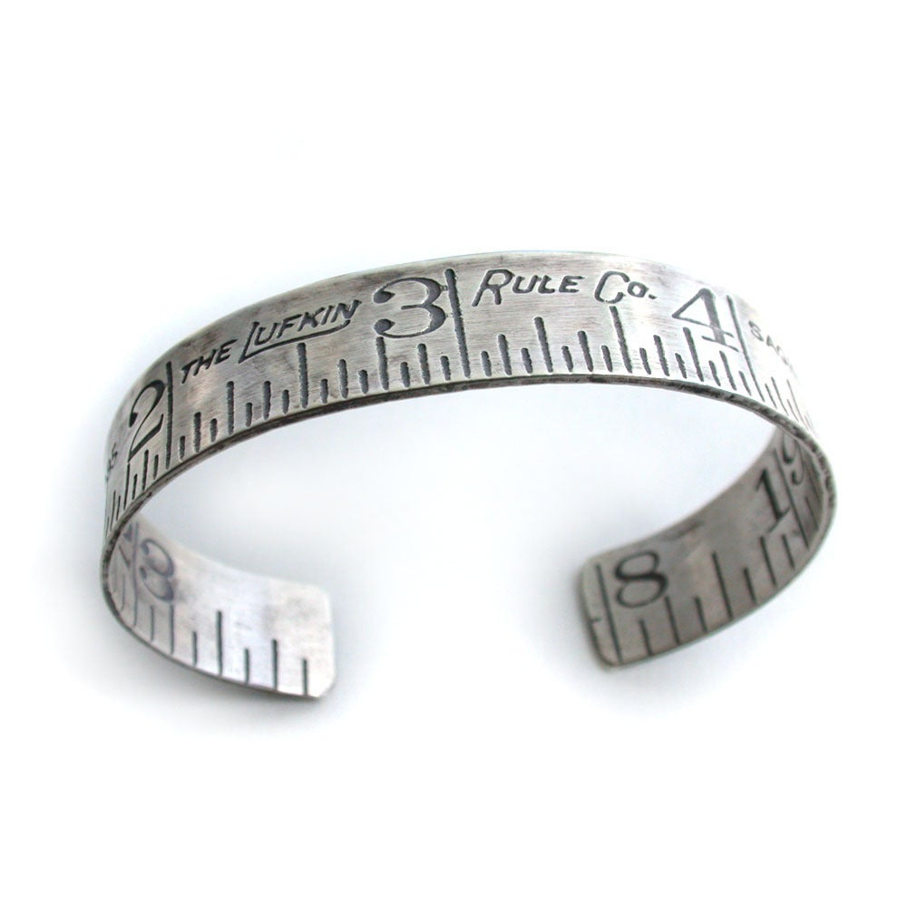 Image of silver ruler cuff bracelet