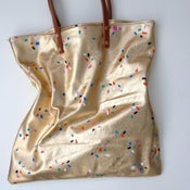 Image of Hand painted leather shopper tote