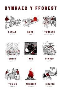 Image of fforest cymraeg prints: 'cymraeg y fforest' (fforest essentials)