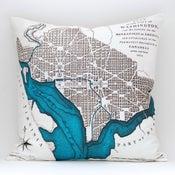 "Image of Vintage WASHINGTON D.C. 18"" x 18″ Map Pillow Cover"