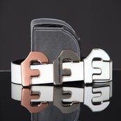 "Image of Forgiato Double Sided Leather ""F"" Belt & Buckle (White)"