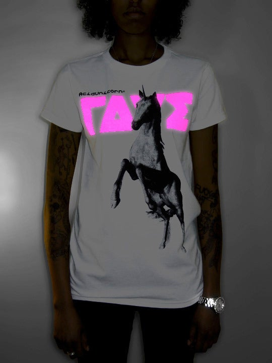 Image of NU ΓΔVΣ® Acid Unicorn® Girl Shirt <br>White