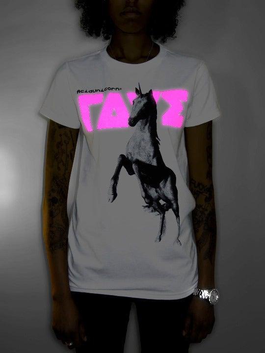 Image of NU ΓΔVΣ® Acid Unicorn® Girl Shirt <br>White