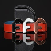 "Image of Forgiato Double Sided Leather ""F"" Belt & Buckle (Blood Orange)"