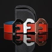 """Image of Forgiato Double Sided Leather """"F"""" Belt & Buckle (Blood Orange)"""