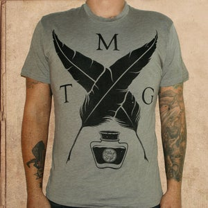 Image of MTG Quill & ink logo - tri-blend - warm grey S/M left