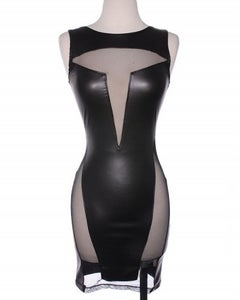 Image of Leather Cut-Out Dress