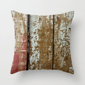 Image of Weathered. Farm Wood Photography Throw Toss Pillow by Brandi Fitzgerald
