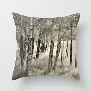 Image of Birch Trunks. Beautiful Colorado Trees Throw Toss Pillow by Brandi Fitzgerald