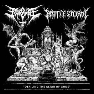 "Image of FETID ZOMBIE (USA) & BATTLESTORM  ""Defiling the Altar of Gods"""