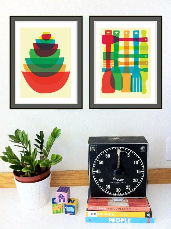 Image of Bowl & Utensil Stack - 2 Kitchen Art Prints Set