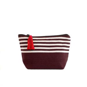 Image of Small Tassel Bag Dark Chocolate/White