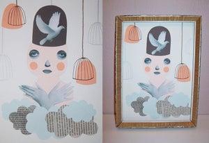 Image of Birds on my head - Handmade collage / illustration 18 x 24,5