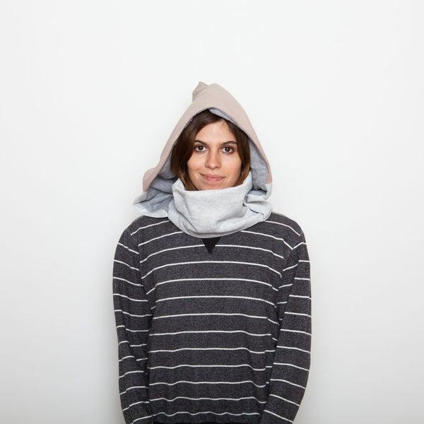 Image of Pink lavander & classic grey hoodie neck