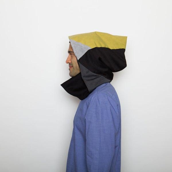 Image of Lime, greys & black hoodie neck