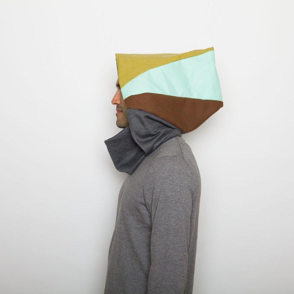 Image of Lime, mint, brown & grey hoodie neck