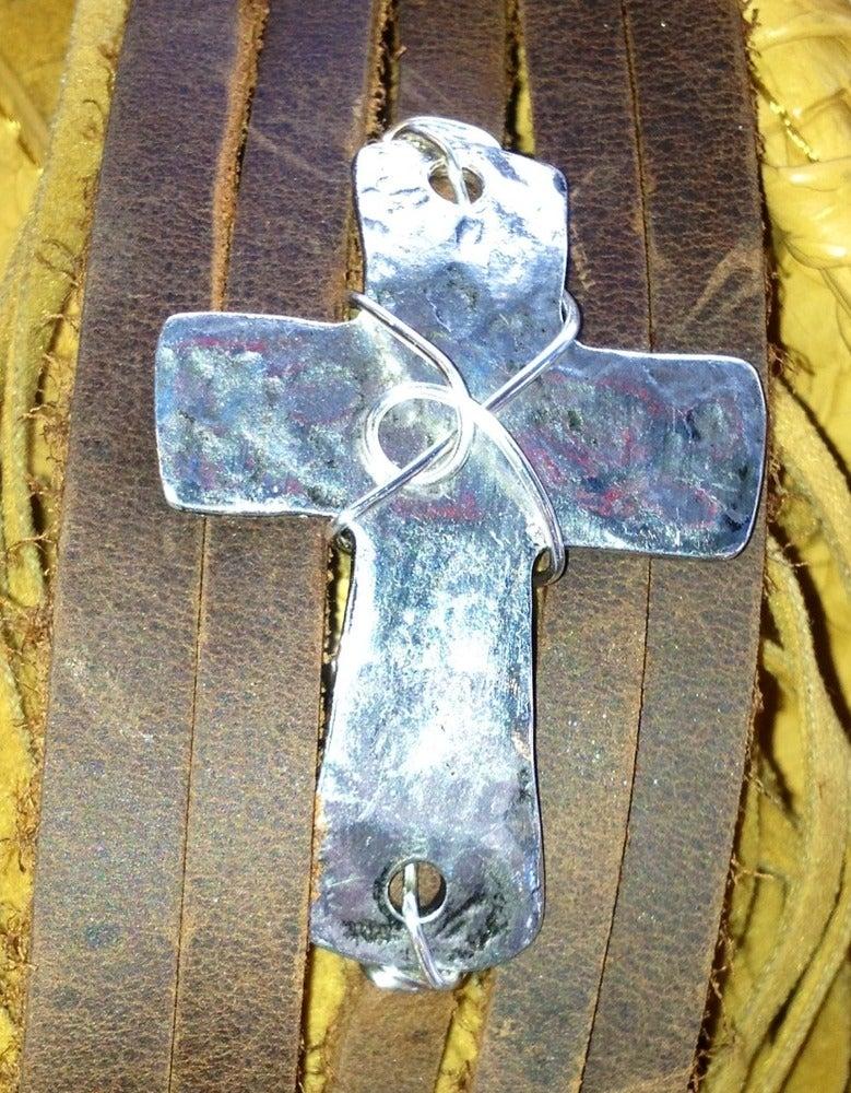 Image of Hammered cross bracelet